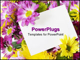 PowerPoint Template -  colorful bunch of fresh spring flowers isolated on white background with blank note card to add yo