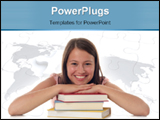 PowerPoint Template - Smiling woman with stack of books