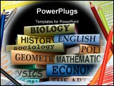 PowerPoint Template - school books on a stack educational textbooks with text education leads to knowledge