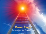 PowerPoint Template - A religious conceptual image of a stepladder/stairway going up to heaven.