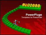 PowerPoint Template - 3d businessman running to success