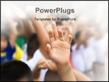 PowerPoint Template - sharp hand raised in blurry schoolyard background zooming in