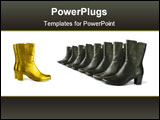 PowerPoint Template - golden (chief) and black (team) boots isolated on white