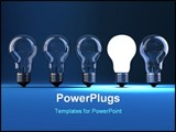 PowerPoint Template - Lit bulb in a row of dim one - 3d render