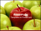 PowerPoint Template - One Red Apple stands out among many Green.