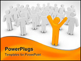 PowerPoint Template - Colored People Stand Out From The Crowd Isolated On White Background
