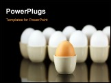 PowerPoint Template - one brown egg in front of white eggs
