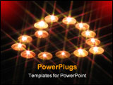 PowerPoint Template - a heart-shaped arrangement of tea-lights through a star filter