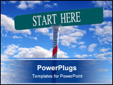 PowerPoint Template - sign that reads Start Here