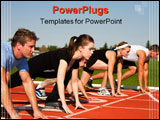 PowerPoint Template - Five runners lined up ready to race. Selective focus on second runner