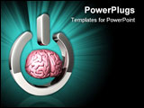 PowerPoint Template - d illustration of a pink human brain floating inside of a large chrome start symbol on a white refl