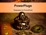 PowerPoint Template - statue of happy Buddha, symbols of chine astrology, oriental coins of good luck, yin yang symbol like a concept of oriental esoteric belief and philosophy