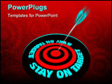 PowerPoint Template - An arrow hits a bulls-eye surrounded by words Stay on Target