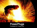 PowerPoint Template - man cutting steels with sparks flying