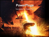PowerPoint Template - Pouring molten steel from crucible.