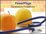 PowerPoint Template - Stethoscope and apples atudio isolated on white background **