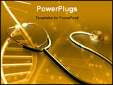 PowerPoint Template - Digital illustration of a stethoscope and DNA sample in amber light