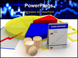 PowerPoint Template - pie chart stock statistics and coins on the ground