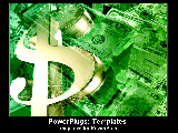 PowerPoint Template - Money symbol glistening over piles of green.