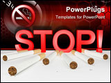 PowerPoint Template - 7 cigarettes and big red stop sign against smoking