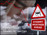PowerPoint Template - Concept image of a signpost with Stormy Weather Ahead against a dark cloudy sky.