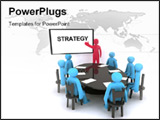 PowerPoint Template - Red characters talking about strategy on meeting.