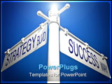 PowerPoint Template - street post with strategy blvd and success way signs