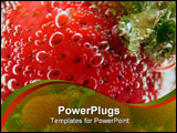 PowerPoint Template - fresh strawberry under the water covered with bubbles