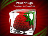 PowerPoint Template - strawberry frozen in ice cube 3d render