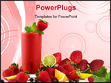 PowerPoint Template - A glass of strawberry smoothie surrounded by fresh fruits