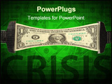 PowerPoint Template - One dollar bill stretched between two clamps
