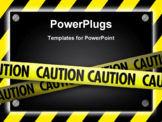 PowerPoint Template - A black sign with silver screws glowing over yellow striped hazard