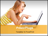 PowerPoint Template - an image of cutestudent with Laptop