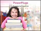 PowerPoint Template - Happy Girl With Books in Class School Looking Sideways Into Copy Space for Your Text