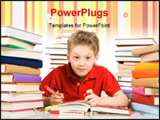 PowerPoint Template - Portrait of cute youngster sitting among stacks of literature with open book in front of him