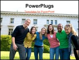 PowerPoint Template -  diverse group of multicultural students on campus. A photo of Asian, African American, Hispanic an