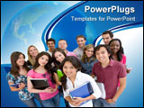 PowerPoint Template - Happy group of students isolated over white