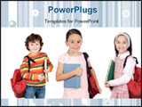 PowerPoint Template - lovables students childrens a over white background