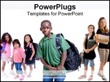 PowerPoint Template - Students ready for school.