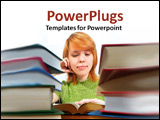 PowerPoint Template - A redheaded girl studying at a table piled with books