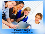 PowerPoint Template - A group of students get in a study group.