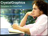 PowerPoint Template - Male student contemplating life.