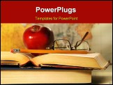 PowerPoint Template - Old books with red apple and glasses on study desk