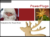 PowerPoint Template - Golden raindeer with santa clause and christmas trees on a white background