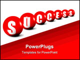 PowerPoint Template - Success word made of spheres on white background focus set in foreground