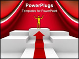 PowerPoint Template - Successful man who has attained its objectives on the podium to celebrate.