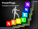 PowerPoint Template - seven varicolored squares with letters and schematic person