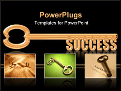 PowerPoint Template - Key to Success, a gold key with the words Success replaceing the teeth