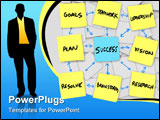 PowerPoint Template - Instructions for success in an organization written on sticky notes
