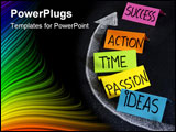 PowerPoint Template - ime ideas action passion - success ingredients concept presented with colorful noted and white chal